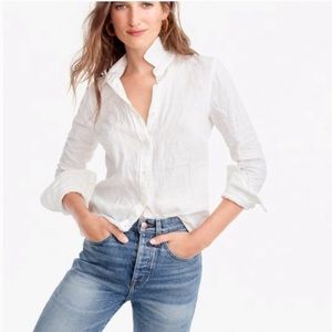 J.Crew Perfect Shirt White Button Down 10